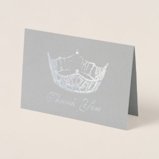 Miss America Style Silver Foil Crown Card