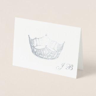 Miss America Style Silver Foil Crown Monogram Card