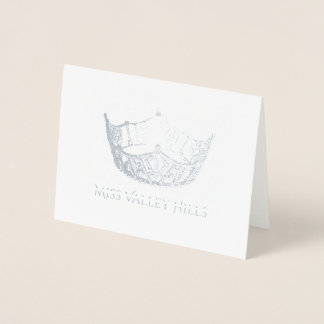 Miss America Style Silver Foil Crown Note Card-Sm Foil Card