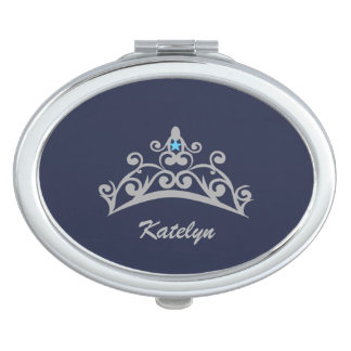 Miss America USA Silver Crown Compact Mirror-Name Mirrors For Makeup