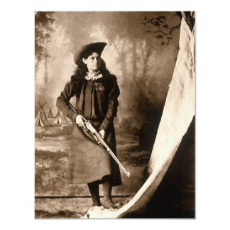 Miss Annie Oakley Photo Holding a Rifle Invitation