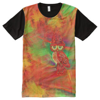 Miss Extravagance Fall Fashion Owl Shirt All-Over Print T-Shirt