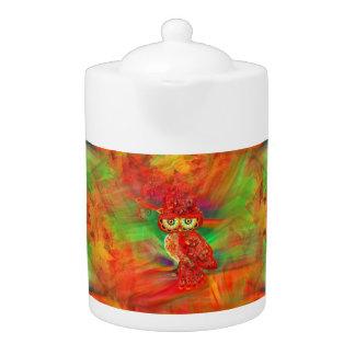 Miss Extravagance Fall Fashion Owl Teapot