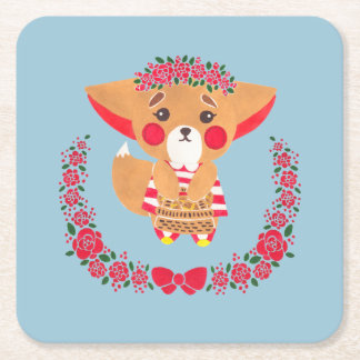 Miss Fennec Fox Square Paper Coaster