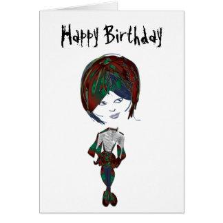 Miss-fit Emo Girl Digital Art Card
