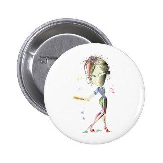 Miss-fit Girl plays Baseball! Art Buttons
