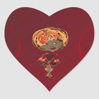 Miss-fit Scarlet Digital Art Girl Heart Sticker