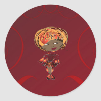 Miss-fit Scarlet Digital Girl Classic Round Sticker