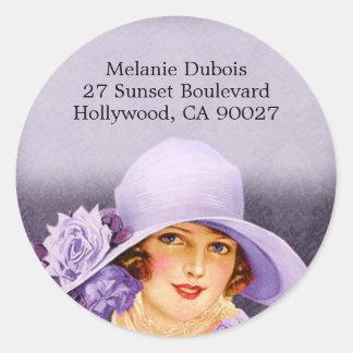 Miss Melanie in Lavender - Address Labels Round Sticker