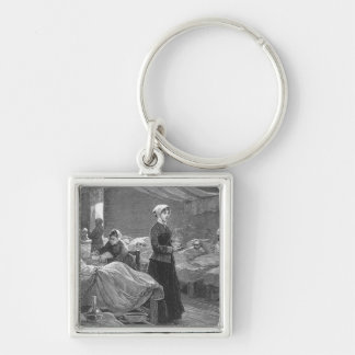 Miss Nightingale in the Barrack Hospital Silver-Colored Square Key Ring