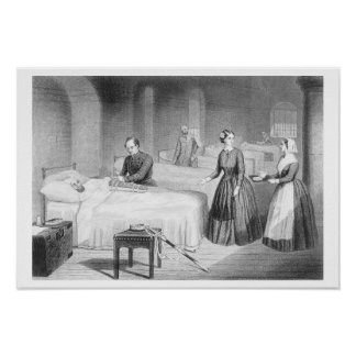 Miss Nightingale in the Hospital at Scutari, engra Poster
