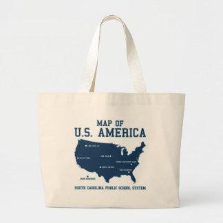 Miss South Carolina Map of US America Jumbo Tote Bag