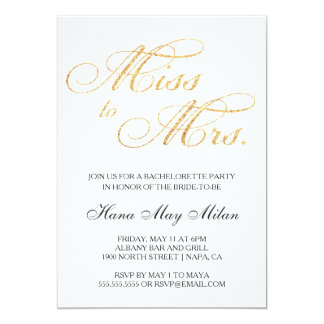Miss to Mrs. Bachelorette Invitation