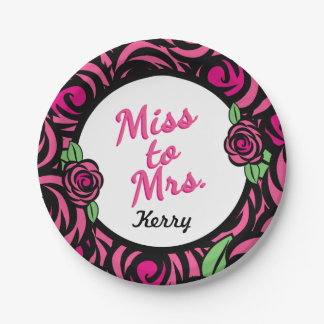 Miss to Mrs, Bridal Shower Paper Plate 7 Inch Paper Plate
