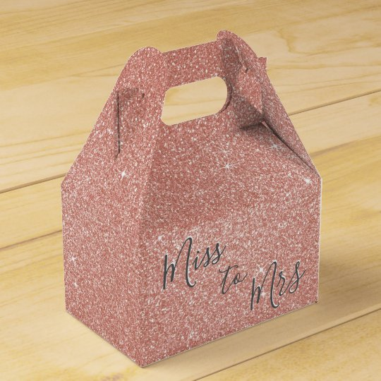 Miss to Mrs Bridal Shower Party Rose Gold Sparkle Favour Box