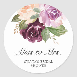 Miss to Mrs Moody Plum Floral Bridal Shower Favor Classic Round Sticker