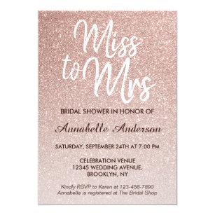 miss to mrs pink rose gold glitter bridal shower invitation