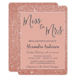 miss to mrs rose gold glitter bridal shower invitation