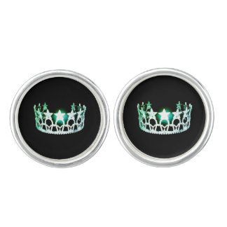 Miss USA America lt. Green Crown Round Cuff Links