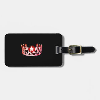 Miss USA Coral Pink Crown Luggage Tag