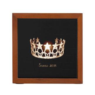 Miss USA Gold Crown Wood Desk Organizer-Since Desk Organiser