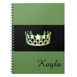 Miss USA Green Crown Notebook- Custom Name Notebooks