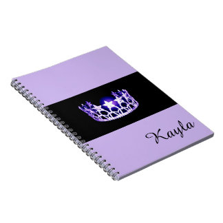 Miss USA Lavender Crown Notebook- Custom Name Spiral Notebook