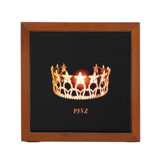 Miss USA Orange Crown Wood Desk Organizer-Date Desk Organiser