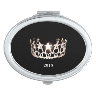Miss USA Silver Crown Compact Mirror-Date Vanity Mirrors
