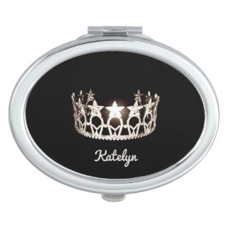 Miss USA Silver Crown Compact Mirror-Name Makeup Mirrors