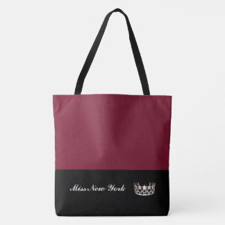 Miss  USA Silver Crown Tote Bag-Large Wine
