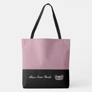 Miss USA Silver Crown Tote Bag-LRGE Mauve