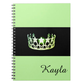Miss USA Spring Green Crown Notebook- Custom Name Notebook