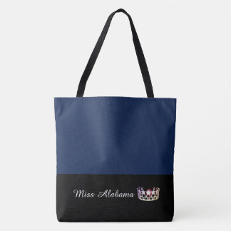 Miss USA State Silver Crown Tote Bag-Large Navy