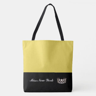 Miss USA State Silver Crown Tote Bag-Large Yellow