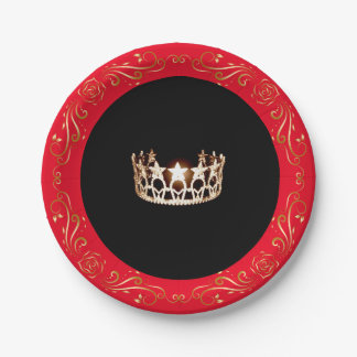 "Miss USA style Red Gold Crown 7"" Paper Plates 7 Inch Paper Plate"
