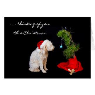 Miss You at Christmas - Dog Looking at Tree Card