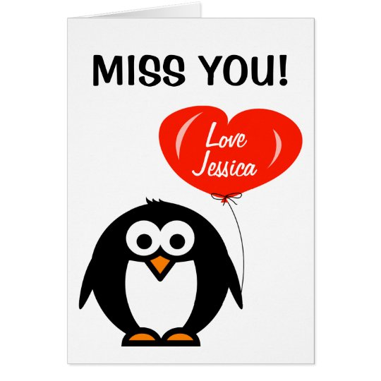 Miss you greeting card | penguin with red