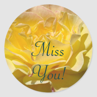Miss You! stamps Yellow Rose Flower postage Round Sticker