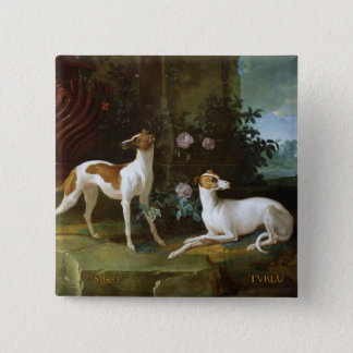 Misse and Turlu, two greyhounds of Louis XV 15 Cm Square Badge