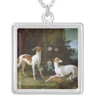 Misse and Turlu, two greyhounds of Louis XV Square Pendant Necklace