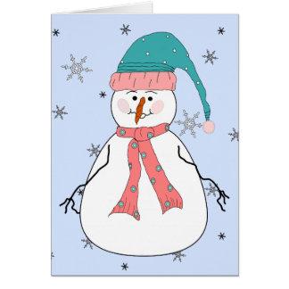 Misses Snowman, Snowing Snow Whimsical Primitive Card