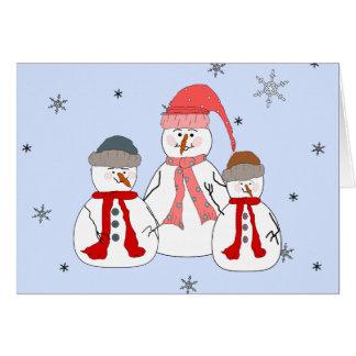 Misses Snowman Snowmen Children Snow Whimsical Art Card