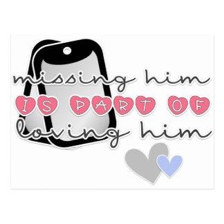 Missing him postcard