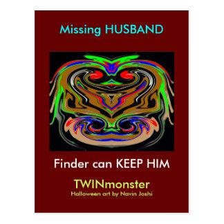 Missing Husband Postcard