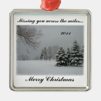 Missing You Across the Miles-Merry Christmas Christmas Ornament