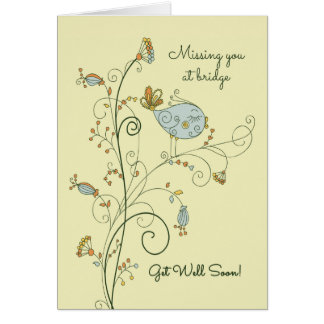 Missing You at Bridge-Get Well Soon Card