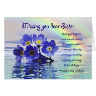 Missing you card for sister with forget me nots