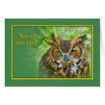 Missing You Card with Great Horned Owl