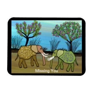 Missing You Elephants Premium Magnet